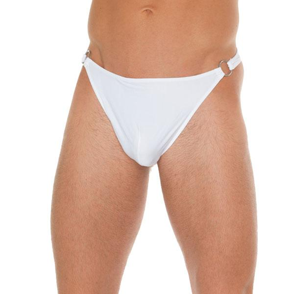 Mens White G String With Metal Hoop Conn...