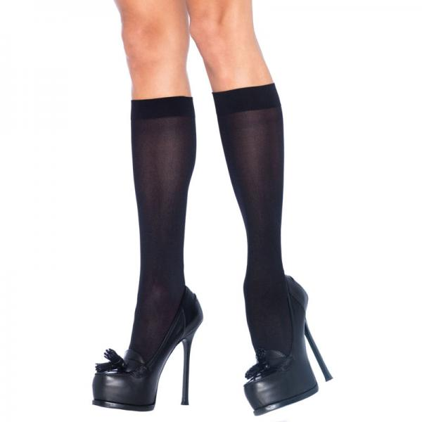 Leg Avenue Nylon Knee Highs Black UK 8 t...
