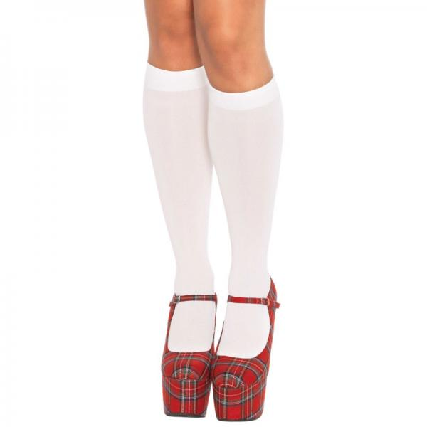 Leg Avenue Nylon Knee Highs White UK 8 t...