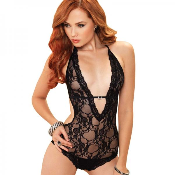 Leg Avenue Deep V Halter Teddy Black UK ...