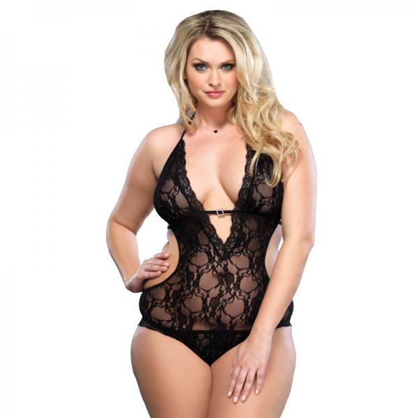 Leg Avenue Lace Deep V Halter Teddy UK 1...