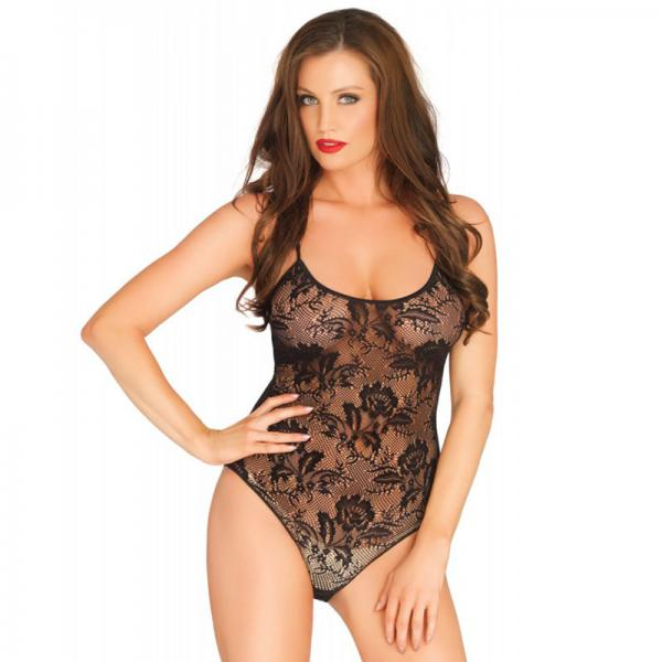 Leg Avenue Rose Lace Strappy Black Teddy...