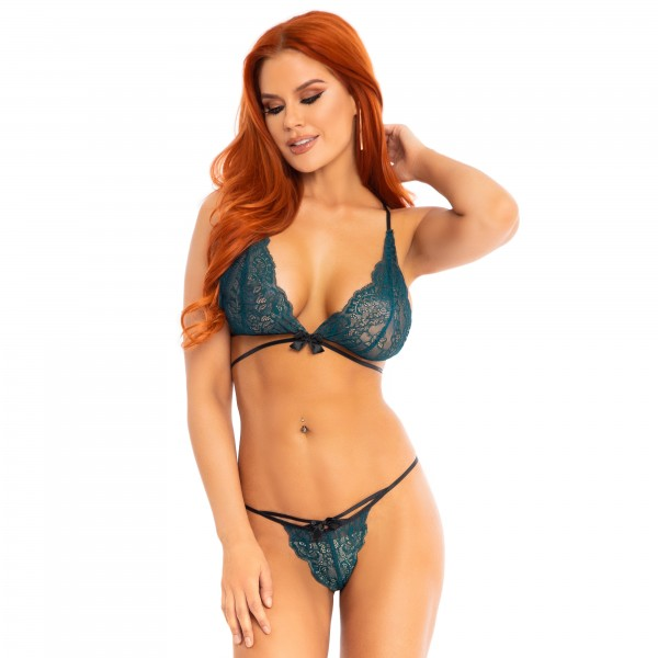 Leg Avenue Teal Lace Bralette And Matchi...