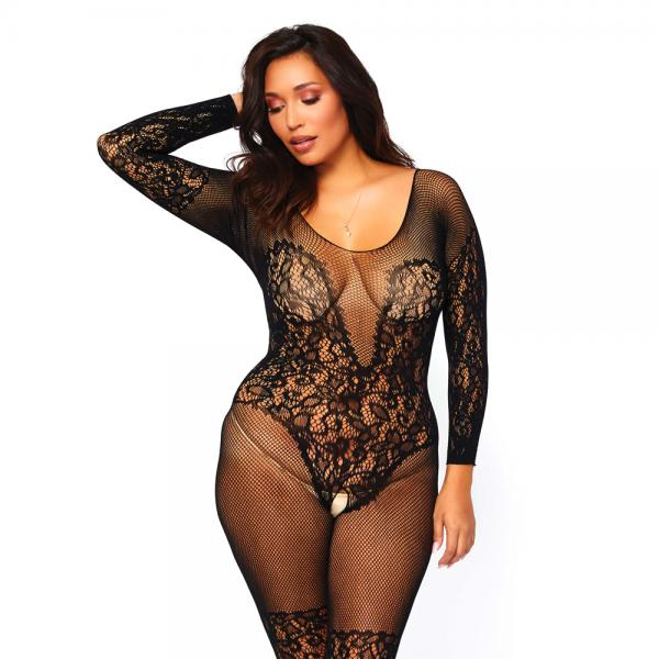 Leg Avenue Vine Lace And Net Bodystockin...