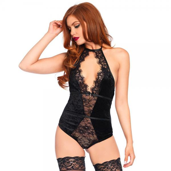 Black Halter Neck Stretch Velvet Teddy