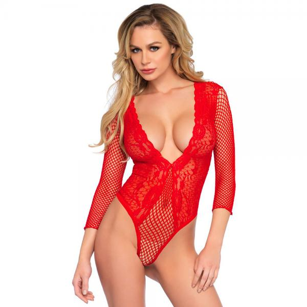 Leg Avenue High Cut Deep V Lace And Net ...