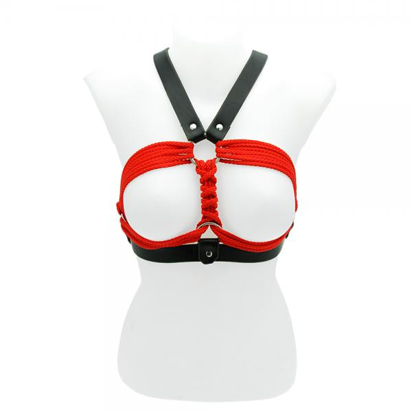 House Of Eros Leather And Rope Breast Bi...