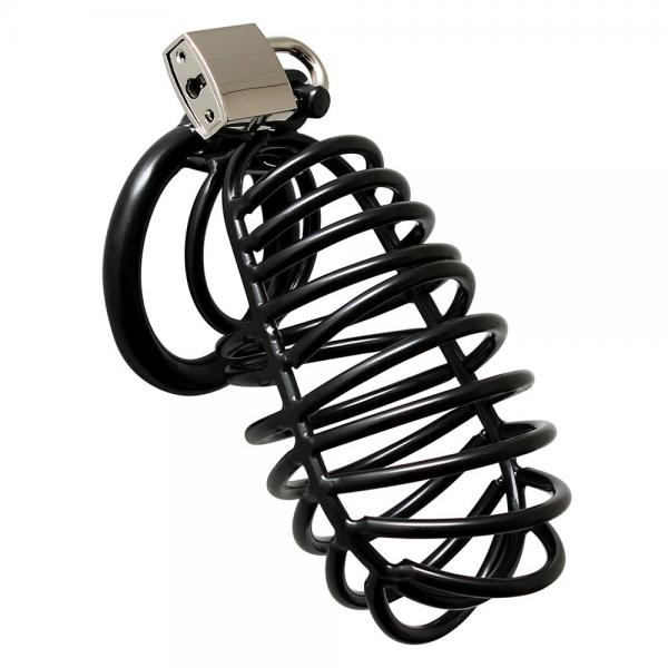 Black Metal Male Chastity Device With Pa...