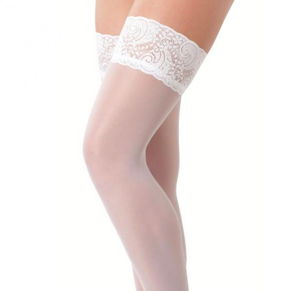 White HoldUp Stockings With Floral Lace ...