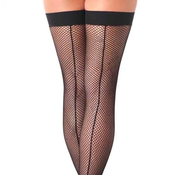 Black Fishnet Stockings With Seems