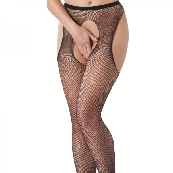 Fishnet Suspender Tights With Open Crotc...
