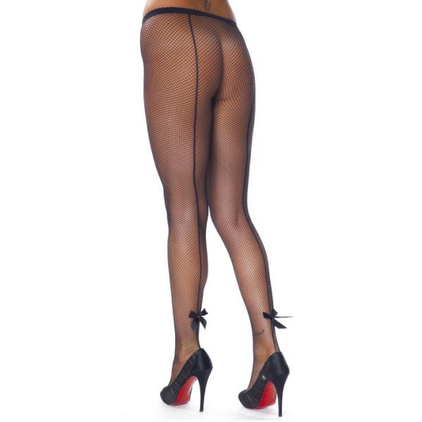 Black Fishnet Tights with Bows and Seems
